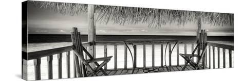 Cuba Fuerte Collection Panoramic BW - Paradise Beach Hut-Philippe Hugonnard-Stretched Canvas Print