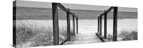 Cuba Fuerte Collection Panoramic BW - Boardwalk on the Beach II-Philippe Hugonnard-Stretched Canvas Print