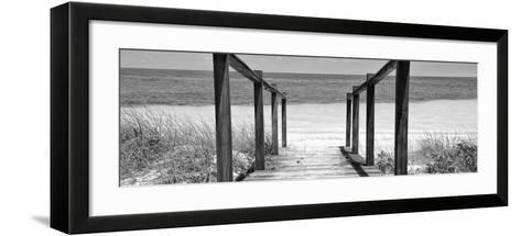 Cuba Fuerte Collection Panoramic BW - Boardwalk on the Beach II-Philippe Hugonnard-Framed Art Print