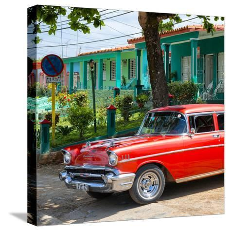 Cuba Fuerte Collection SQ - Red Classic Car in Vinales-Philippe Hugonnard-Stretched Canvas Print