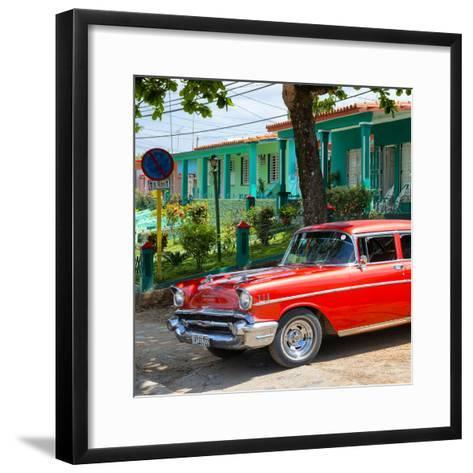 Cuba Fuerte Collection SQ - Red Classic Car in Vinales-Philippe Hugonnard-Framed Art Print
