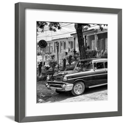 Cuba Fuerte Collection SQ BW - Classic Car in Vinales II-Philippe Hugonnard-Framed Art Print