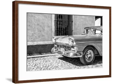 Cuba Fuerte Collection B&W - American Classic Car in Trinidad V-Philippe Hugonnard-Framed Art Print
