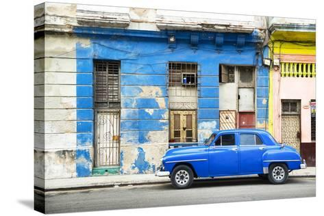 Cuba Fuerte Collection - Blue Vintage American Car in Havana-Philippe Hugonnard-Stretched Canvas Print