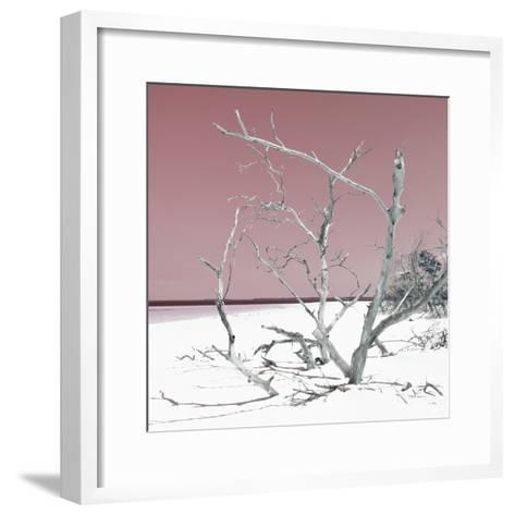 Cuba Fuerte Collection SQ - Tropical Beach Nature - Pastel Red-Philippe Hugonnard-Framed Art Print