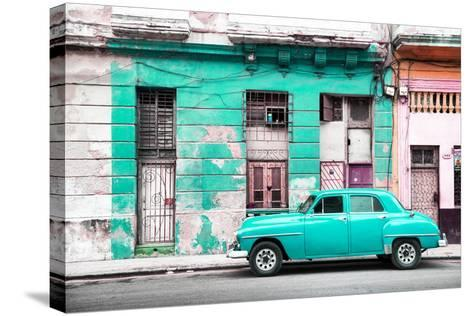 Cuba Fuerte Collection - Turquoise Vintage American Car in Havana-Philippe Hugonnard-Stretched Canvas Print