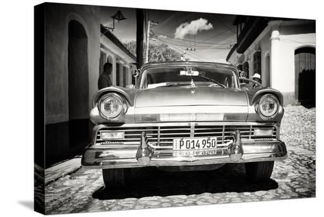 Cuba Fuerte Collection B&W - American Classic Car in Trinidad VI-Philippe Hugonnard-Stretched Canvas Print