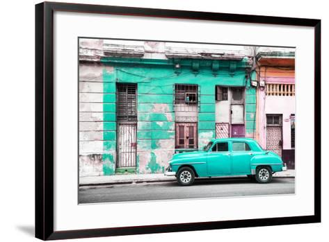 Cuba Fuerte Collection - Turquoise Vintage American Car in Havana-Philippe Hugonnard-Framed Art Print