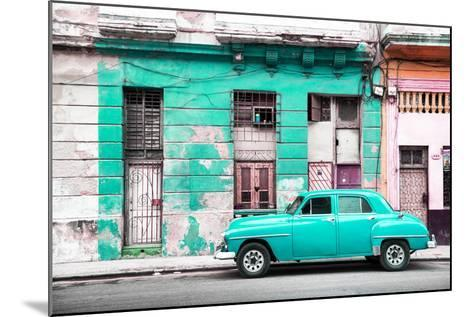 Cuba Fuerte Collection - Turquoise Vintage American Car in Havana-Philippe Hugonnard-Mounted Photographic Print