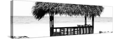 Cuba Fuerte Collection Panoramic BW - Beach Hut II-Philippe Hugonnard-Stretched Canvas Print