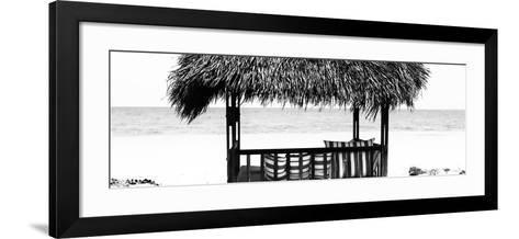 Cuba Fuerte Collection Panoramic BW - Beach Hut II-Philippe Hugonnard-Framed Art Print