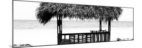 Cuba Fuerte Collection Panoramic BW - Beach Hut II-Philippe Hugonnard-Mounted Photographic Print
