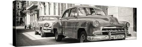 Cuba Fuerte Collection Panoramic BW - Two Chevrolet Cars-Philippe Hugonnard-Stretched Canvas Print