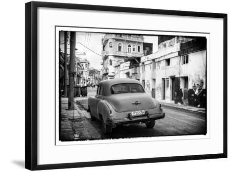 Cuba Fuerte Collection B&W - Old Car in the Streets of Havana III-Philippe Hugonnard-Framed Art Print