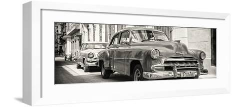 Cuba Fuerte Collection Panoramic BW - Two Chevrolet Cars-Philippe Hugonnard-Framed Art Print