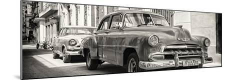 Cuba Fuerte Collection Panoramic BW - Two Chevrolet Cars-Philippe Hugonnard-Mounted Photographic Print