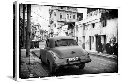 Cuba Fuerte Collection B&W - Old Car in the Streets of Havana III-Philippe Hugonnard-Stretched Canvas Print