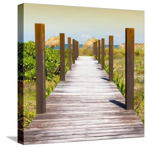 Cuba Fuerte Collection SQ - Boardwalk on the Beach at Sunset-Philippe Hugonnard-Stretched Canvas Print