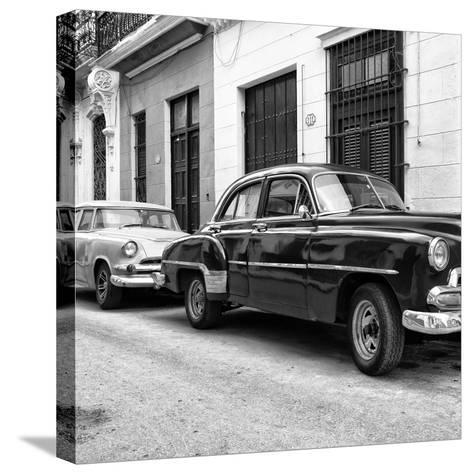 Cuba Fuerte Collection SQ BW - Two Classic Cars-Philippe Hugonnard-Stretched Canvas Print