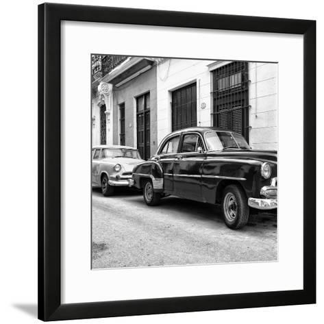 Cuba Fuerte Collection SQ BW - Two Classic Cars-Philippe Hugonnard-Framed Art Print