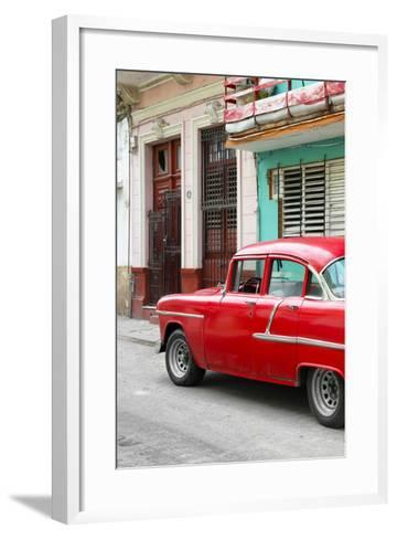 Cuba Fuerte Collection - Vintage Cuban Red Car-Philippe Hugonnard-Framed Art Print