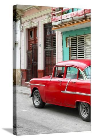 Cuba Fuerte Collection - Vintage Cuban Red Car-Philippe Hugonnard-Stretched Canvas Print