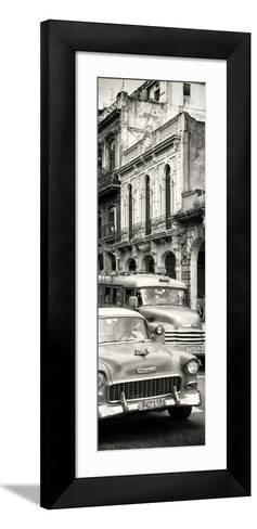 Cuba Fuerte Collection Panoramic BW - Classic Cars in Havana-Philippe Hugonnard-Framed Art Print