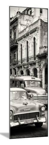 Cuba Fuerte Collection Panoramic BW - Classic Cars in Havana-Philippe Hugonnard-Mounted Photographic Print