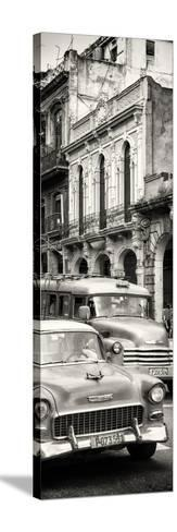 Cuba Fuerte Collection Panoramic BW - Classic Cars in Havana-Philippe Hugonnard-Stretched Canvas Print