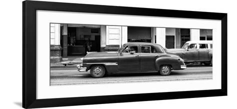 Cuba Fuerte Collection Panoramic BW - Havana Red Car-Philippe Hugonnard-Framed Art Print