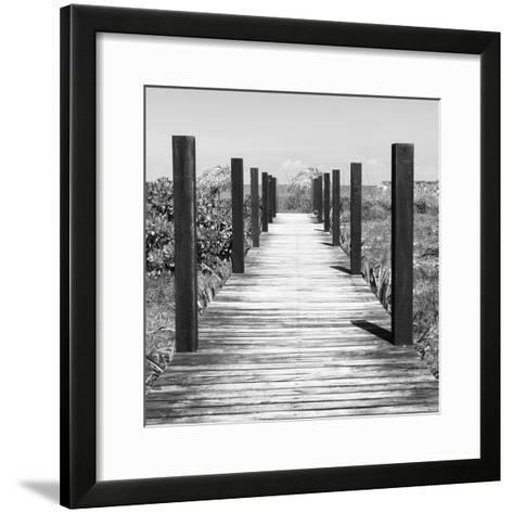 Cuba Fuerte Collection SQ BW - Boardwalk on the Beach-Philippe Hugonnard-Framed Art Print