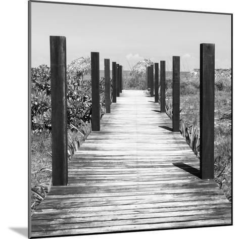 Cuba Fuerte Collection SQ BW - Boardwalk on the Beach-Philippe Hugonnard-Mounted Photographic Print