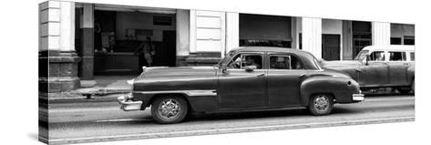 Cuba Fuerte Collection Panoramic BW - Havana Red Car-Philippe Hugonnard-Stretched Canvas Print