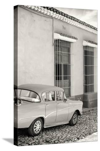 Cuba Fuerte Collection B&W - Classic Car in Sancti Spiritus-Philippe Hugonnard-Stretched Canvas Print
