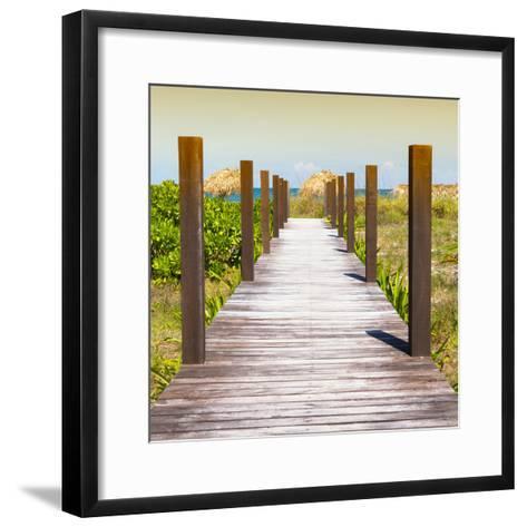 Cuba Fuerte Collection SQ - Boardwalk on the Beach at Sunset-Philippe Hugonnard-Framed Art Print