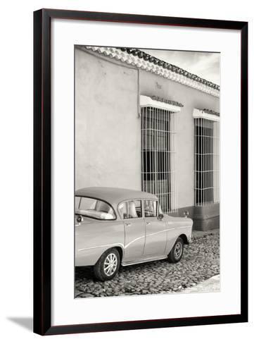 Cuba Fuerte Collection B&W - Classic Car in Sancti Spiritus-Philippe Hugonnard-Framed Art Print
