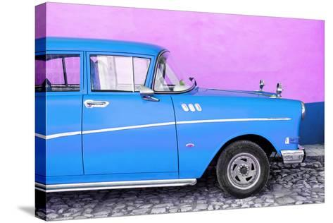 Cuba Fuerte Collection - Close-up of Retro Blue Car-Philippe Hugonnard-Stretched Canvas Print