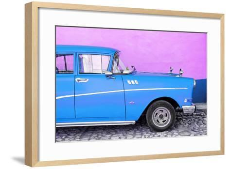 Cuba Fuerte Collection - Close-up of Retro Blue Car-Philippe Hugonnard-Framed Art Print