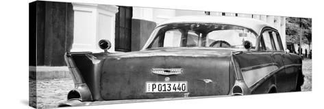 Cuba Fuerte Collection Panoramic BW - Cuban Classic Car-Philippe Hugonnard-Stretched Canvas Print