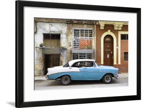 Cuba Fuerte Collection - Blue Classic Car in Havana-Philippe Hugonnard-Framed Art Print