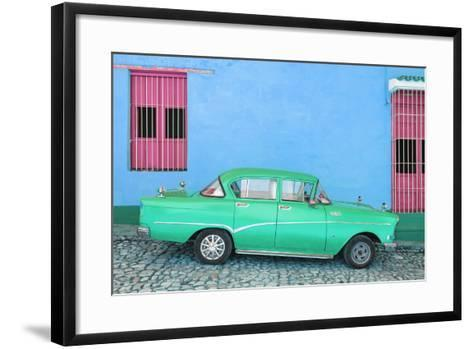 Cuba Fuerte Collection - Green Classic Car in Trinidad-Philippe Hugonnard-Framed Art Print