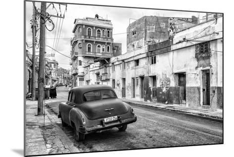 Cuba Fuerte Collection B&W - Old Car in the Streets of Havana II-Philippe Hugonnard-Mounted Photographic Print