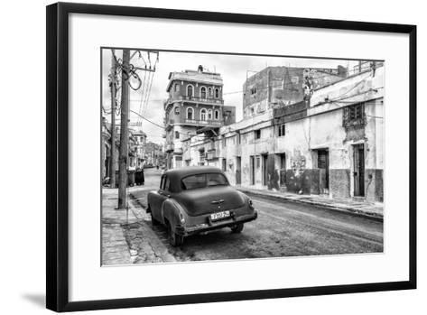 Cuba Fuerte Collection B&W - Old Car in the Streets of Havana II-Philippe Hugonnard-Framed Art Print