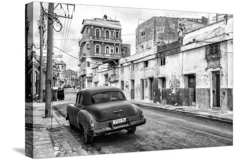 Cuba Fuerte Collection B&W - Old Car in the Streets of Havana II-Philippe Hugonnard-Stretched Canvas Print