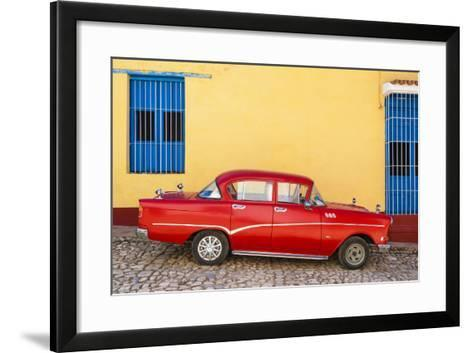 Cuba Fuerte Collection - Red Classic Car in Trinidad-Philippe Hugonnard-Framed Art Print