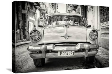 Cuba Fuerte Collection B&W - Old American Taxi Car-Philippe Hugonnard-Stretched Canvas Print