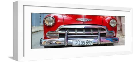Cuba Fuerte Collection Panoramic - Detail on Red Classic Chevy-Philippe Hugonnard-Framed Art Print