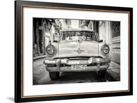 Cuba Fuerte Collection B&W - Old American Taxi Car-Philippe Hugonnard-Framed Art Print