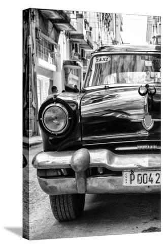 Cuba Fuerte Collection B&W - Old American Taxi Car IV-Philippe Hugonnard-Stretched Canvas Print