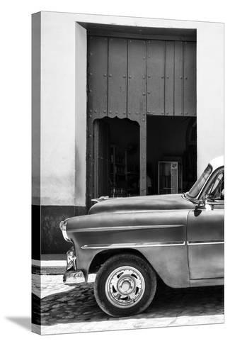 Cuba Fuerte Collection B&W - Detail of Classic Car II-Philippe Hugonnard-Stretched Canvas Print